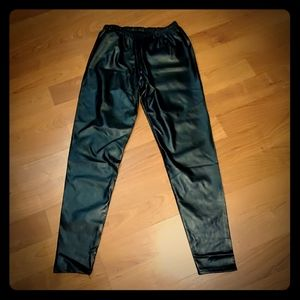 Faux leather pull on pants,